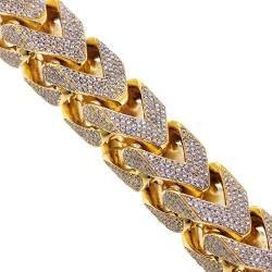 Mens Diamond Franco Bracelet 10K Yellow Gold 43.11 ct 410 grams