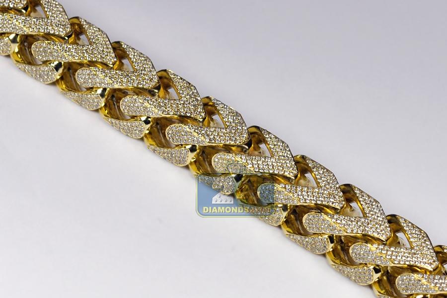 Mens Diamond Franco Bracelet 10k Yellow Gold 43 11 Ct 410