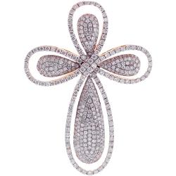 Mens Diamond Cross Pendant 14K Rose Gold 2.93 ct