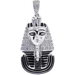 Mens Diamond Enamel Pharaoh Pendant 10K White Gold 0.56 ct