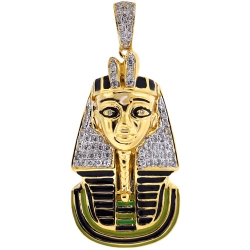 Mens Diamond Enamel Pharaoh Pendant 14K Yellow Gold 0.62 ct