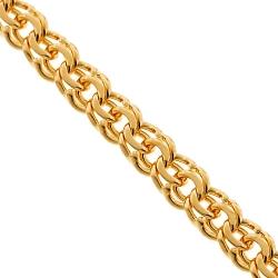 Handmade 18K Yellow Gold Bismark Flat Link Mens Chain 7 mm
