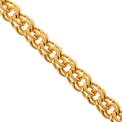 Solid 10K Yellow Gold Flat Bismark Link Mens Chain 7 mm