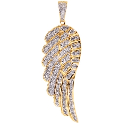 14K Yellow Gold 1.60 ct Diamond Angel Wing Mens Pendant