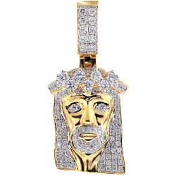 Mens Diamond Jesus Christ Head Pendant 14K Yellow Gold 1.31 ct