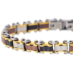 Four Color Steel Bicycle Link Mens Bracelet 8 mm 8.25 inches