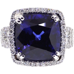 Womens Diamond Blue Sapphire Ring 18K White Gold 29.64 ct