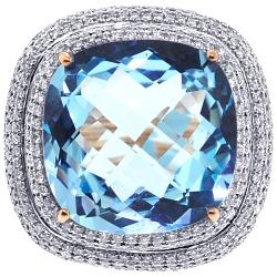 Womens Diamond Blue Topaz Ring 18K Rose Gold 32.75 ct