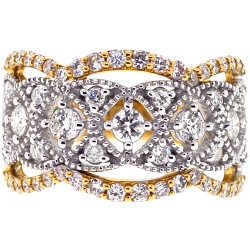 Womens Diamond Openwork Ring 18K Two Tone Gold 1.31 ct