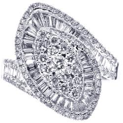 Womens Diamond Cluster Swirl Ring 18K White Gold 1.76 ct