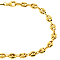 10K Yellow Gold Puff Mariner Mens Bracelet 5.5 mm 8.25 inches