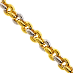 10K Two Tone Gold Puffed Round Cable Mens Chain 7.5 mm