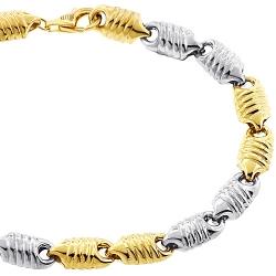 10K Two Tone Gold Bullet Link Mens Bracelet 7 mm 8.75 inches