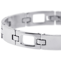 Stainless Steel Section Link Mens Bracelet 10 mm 8 inches