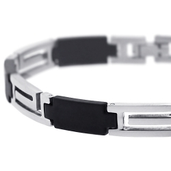 Steel Rubber Greek Key Link Mens Bracelet 8 mm 8.75 inches