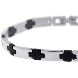 Stainless Steel Rubber Link Mens Bracelet 6 mm 8.5 inches