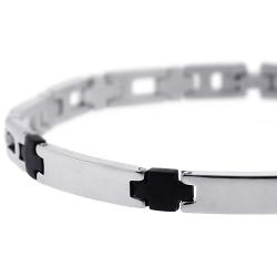 Stainless Steel Black Rubber Mens Bracelet 6 mm 8.5 inches