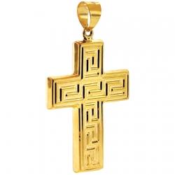 10K Yellow Gold Greek Key Cross Mens Pendant