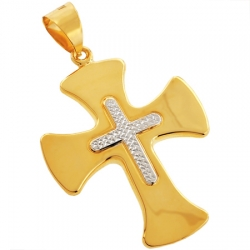 10K Yellow Gold Puff Fleur De Lis Cross Mens Pendant