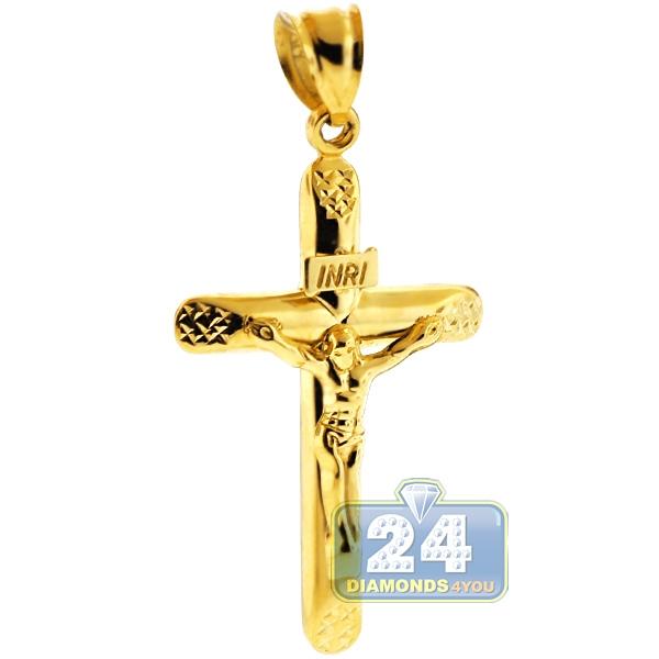 10k yellow gold crucifix cross mens pendant 2 inches