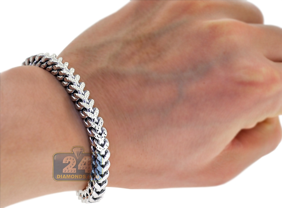 10k White Gold Diamond Cut Franco Mens Bracelet 6 Mm 8 5