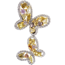 Womens Fancy Diamond Butterfly Brooch Necklace 14K Gold 2.84 ct