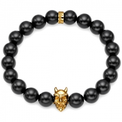Yellow Gold Devil Bead Black Onyx Gemstone Bracelet Edus&Co