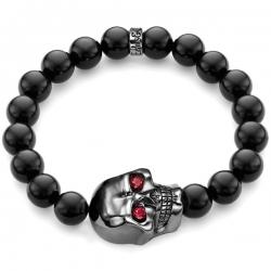 Silver Large Skull Bead Ruby Onyx Bracelet Edus&Co