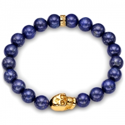 Yellow Gold Skull Blue Lapis Lazuli Bead Bracelet Edus&Co