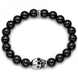 Silver Skull Bead Black Onyx Gemstone Bracelet Edus&Co