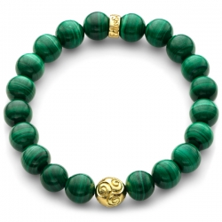 Yellow Gold Celtic Bead Green Malachite Bracelet Edus&Co
