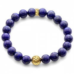 Yellow Gold Star Bead Blue Lapis Lazuli Bracelet Edus&Co