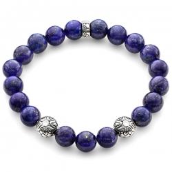 Silver Star Bead Blue Lapis Lazuli Bracelet Edus&Co