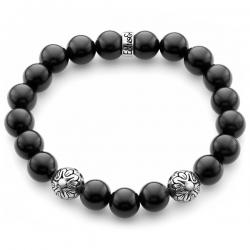 Silver Star Bead Black Onyx Gemstone Bracelet Edus&Co