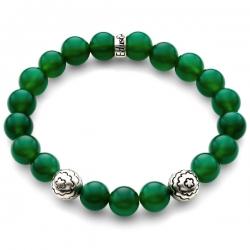 Silver Flower Bead Green Onyx Bracelet Edus&Co