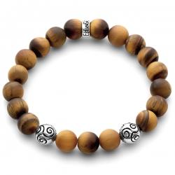 Silver Celtic Bead Matte Brown Tiger Eye Bracelet Edus&Co