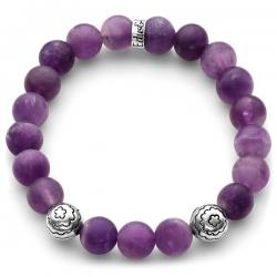 Silver Flower Bead Matte Purple Amethyst Bracelet Edus&Co