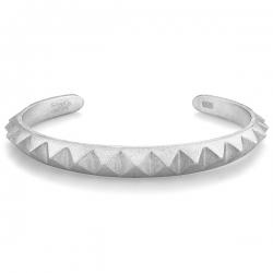 Matte Solid Silver Pyramid Cuff Bracelet Edus&Co