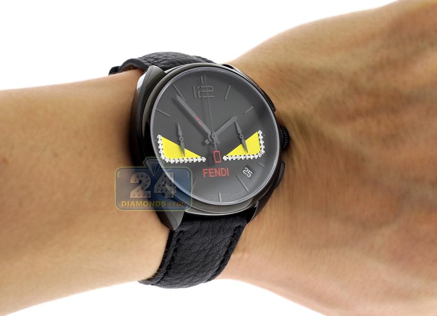 fendi momento bugs diamond mens black watch f214611611d1