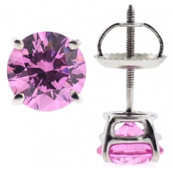 Womens Stud Earrings 14K White Gold 2 ct Pink Swarovski Crystal