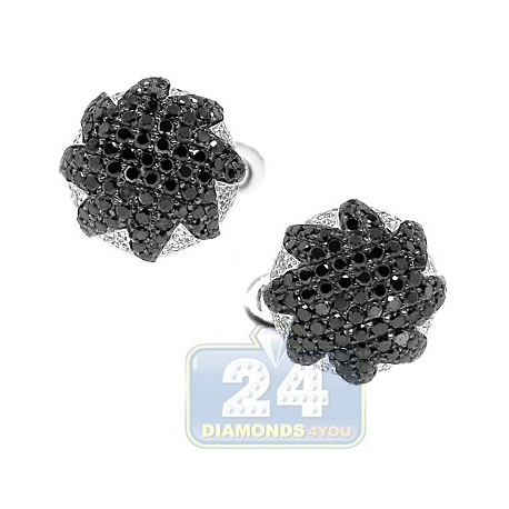 18K White Gold Mens 3.68 ct Black White Diamond Star Cuff Links