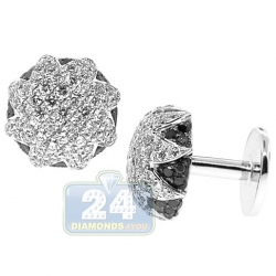 18K White Gold Mens 3.61 ct White Black Diamond Star Cuff Links