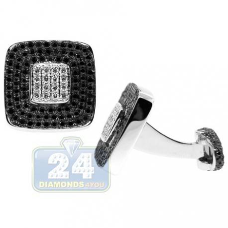 18K White Gold Mens 3.13 ct Black White Diamond Square Cuff Links