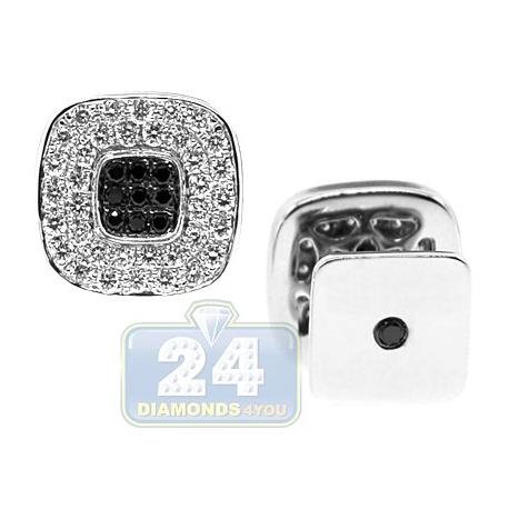 18K White Gold 2.11 ct Mixed Diamond Square Mens Cuff Links
