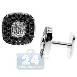 18K White Gold 2.12 ct Black Diamond Mens Square Cuff Links