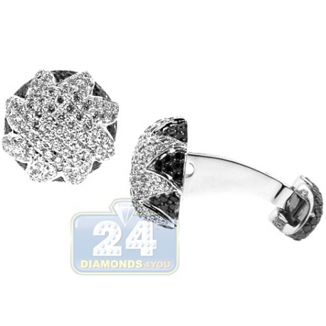 18K Gold 3.38 ct Black White Diamond Star Round Mens Cuff Links