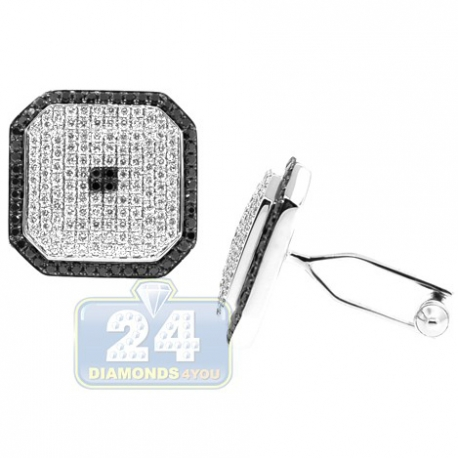 18K White Gold 2.60 ct Mixed Diamond Square Mens Cuff Links