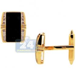 14K Yellow Gold 0.60 ct Diamond Black Onyx Mens Rectangular Cuff Links