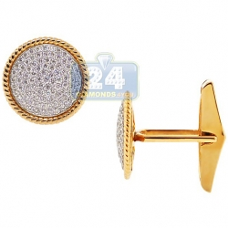 14K Yellow Gold 1.43 ct Diamond Vintage Bezel Mens Cuff Links