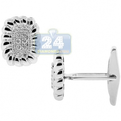 14K White Gold 0.48 ct Diamond Decorated Rectangular Mens Cuff Links